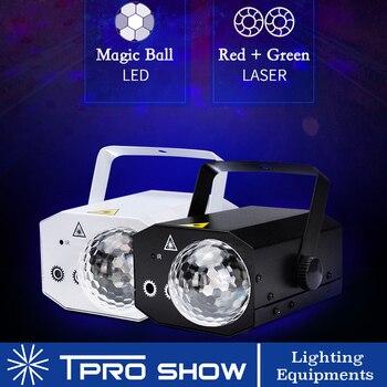 RGB кристалл волшебный шар LED этап 16 режим мини диско лазерный луч света орган управления звуком цвет удаленного рождества лазерный проектор