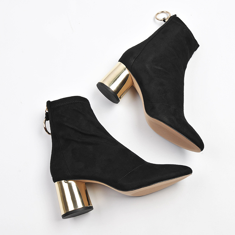 Women Stretch Ankle Boots Round Toe Back Zipper Gold High ...