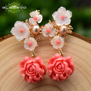 Image 3 - GLSEEVO Real 925 Sterling Silver Pink Coral Drop Earrings White Pearl Pink Natural Stone Shell Flower Dangle Earrings GE0024