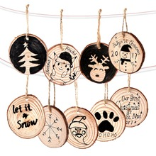 OurWarm 10pcs 5-6cm Nature Wood Slice Unfinished Slices DIY Crafts Christmas Hanging Ornament New Year 2018 Decor