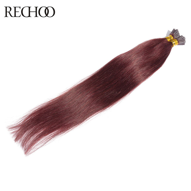 Rechoo Top Quality I Tip Non Remy Hair Extensions Straight 99j