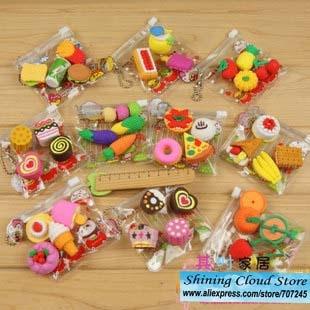 Free ship 40bag Cartoon PVC bag simulation eraser food tool animal erasers 9model for choice