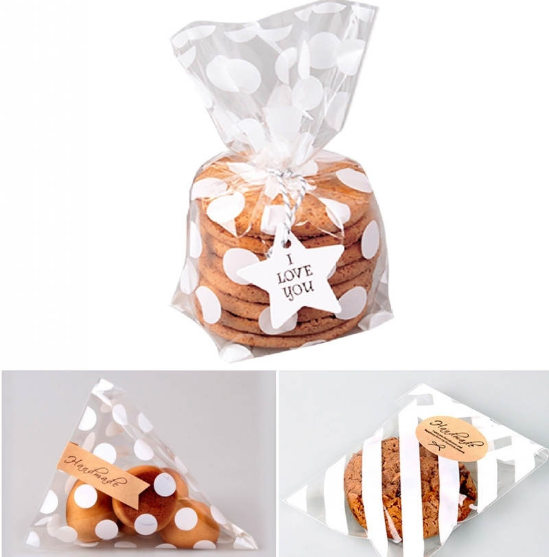 10/20Pcs Flat Cellophane Treat Bag Cookie Candy Biscuits Gift Bags Dot Stripe Baking Package Birthday Wedding Party Decor