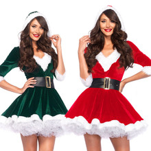 Lady Deluxe Velvet Christmas Dress Hooded Sexy Christmas Tree Clothing Santa Claus Costume Green Elf Xmas Party Dress