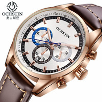 Relogio Masculino Ochstin Watch Men Military Quartz Watch Chronograph Top Brand Luxury Leather Sports Wristwatch