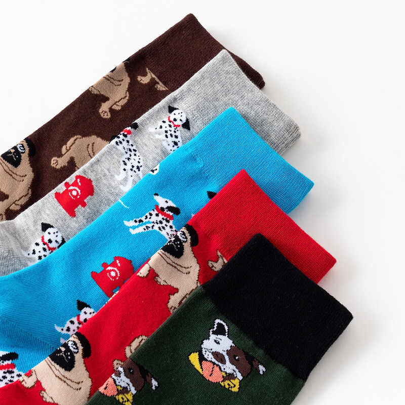 5 Pair/set Personality Cotton Funny Happy Socks Animal Print Cool Hip Hop Harajuku Skateboard Long Socks for Male