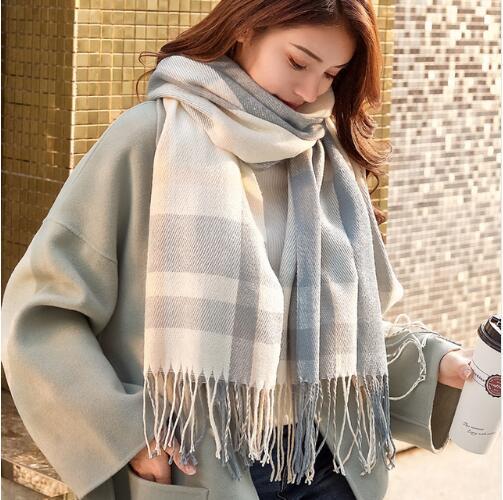 2019 Autumn Winter Female Wool Plaid   Scarf   Women Cashmere   Scarves   Wide Lattices Long Shawl   Wrap   Blanket Warm Tippet