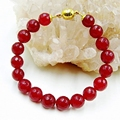 Vintage Classic Laboratory-created Natural Stone Jewelry Delicate Deep Red Rubies  Beaded Bracelet bangle magnetic closure 21cm