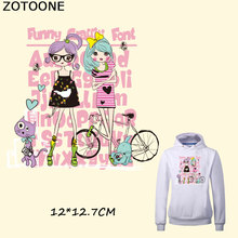ZOTOONE Pink Beautiful Girls Iron Patches for Clothing T-shirt Dresses DIY Accessory Decoration A-level Washable Heat Transfer E