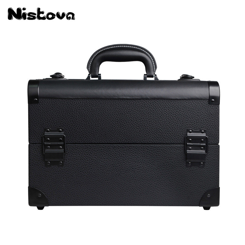 New Professional Aluminum Alloy Portable Cosmetic Box Multi layer Double Open Cosmetic Box Large Capacity Acceptance