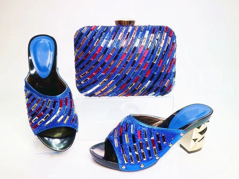 Most popular royal blue women pumps with colorful rhinestone decoration african shoes match handbag set for dress X22Most popular royal blue women pumps with colorful rhinestone decoration african shoes match handbag set for dress X22