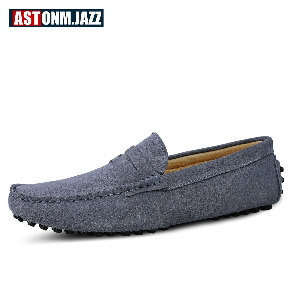 Men's Casual Suede Leather Shoes Handmade Penny Loafers Breathable Driving Slip-on Men's Boat Shoes Fashion Moccasins For Men spring high quality genuine leather dress shoes fashion men loafers slip on breathable driving shoes casual moccasins boat shoes