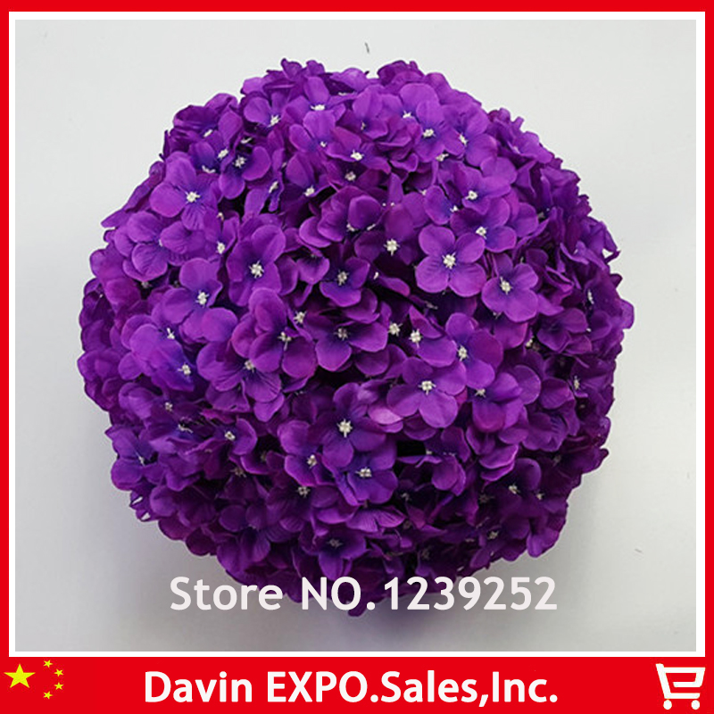New 10 Pcs 23 Cm Purple Artificial Hydrangea Silk Flowers Ball