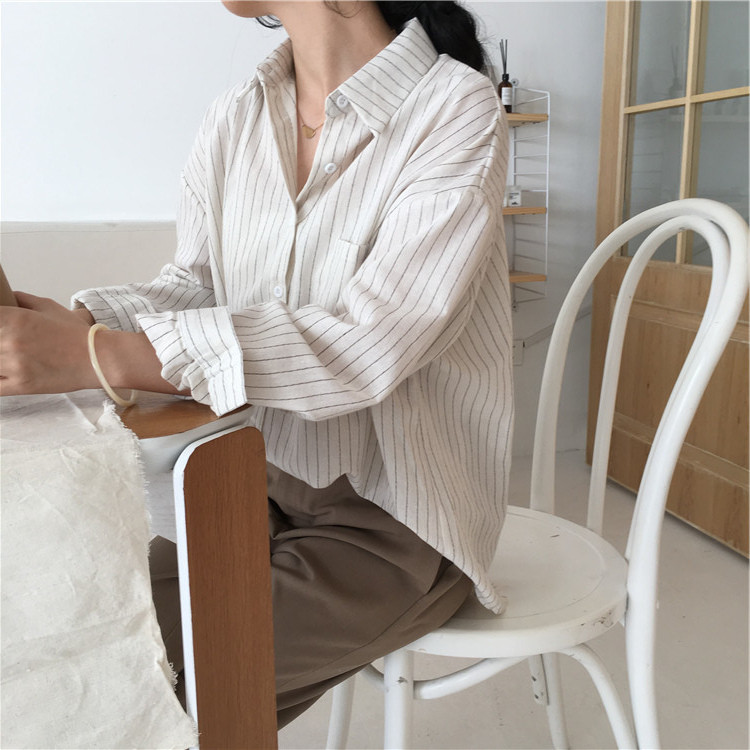 19 Mazefeng Spring Autumn Female Shirts Women Striped Shirts Office Lady Style Women Shirts Solid Fashion Long Sleeves 5