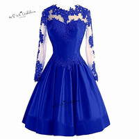 Red Burgundy Royal Blue Long Sleeve Prom Dresses Short Lace Satin Applique Formal Evening Party Gowns