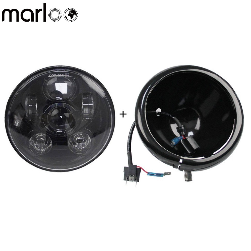 Marloo Motorcycle Accessories 5 3/4 Inch Daymaker Led Headlights Housing bucket With Harley 5 .75