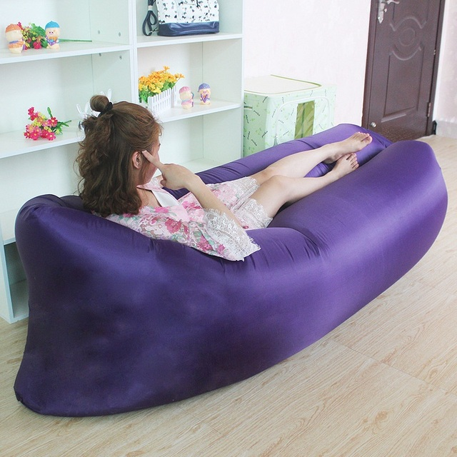 Beach Portable Outdoor Quick Inflatable Bone Sofa Relaxation Sleeping Camping Air Bed Folding Lazy Air Sofa Bag Garden Furniture
