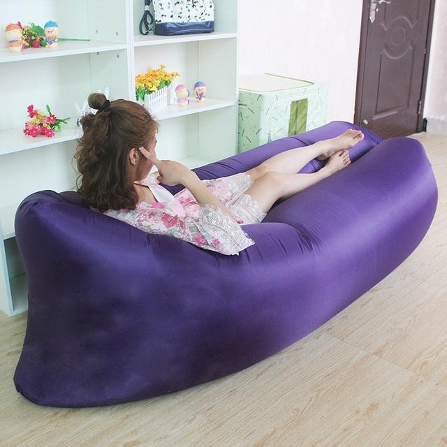 Playa Al Aire Libre Portable Inflable Rápida Relajación Sofá Para Dormir Cama de Aire Que Acampa Plegable Lazy Hueso Aire Bolsa Sofá Muebles de Jardín