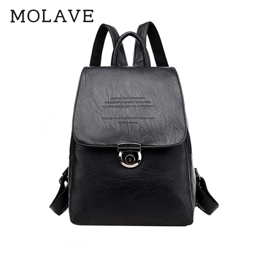 Molave Backpack Women Backpack Solid Backpacks Female Zipper Hasp Bucket Type Bags Pu Leather Travel Student Bag Backpack Jan3