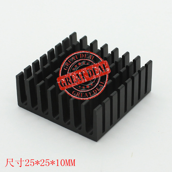 Free Ship 100PCS Custom High Quality Aluminum Heatsink 25*25*10mm Chipset Heatsink Black IC Radiator