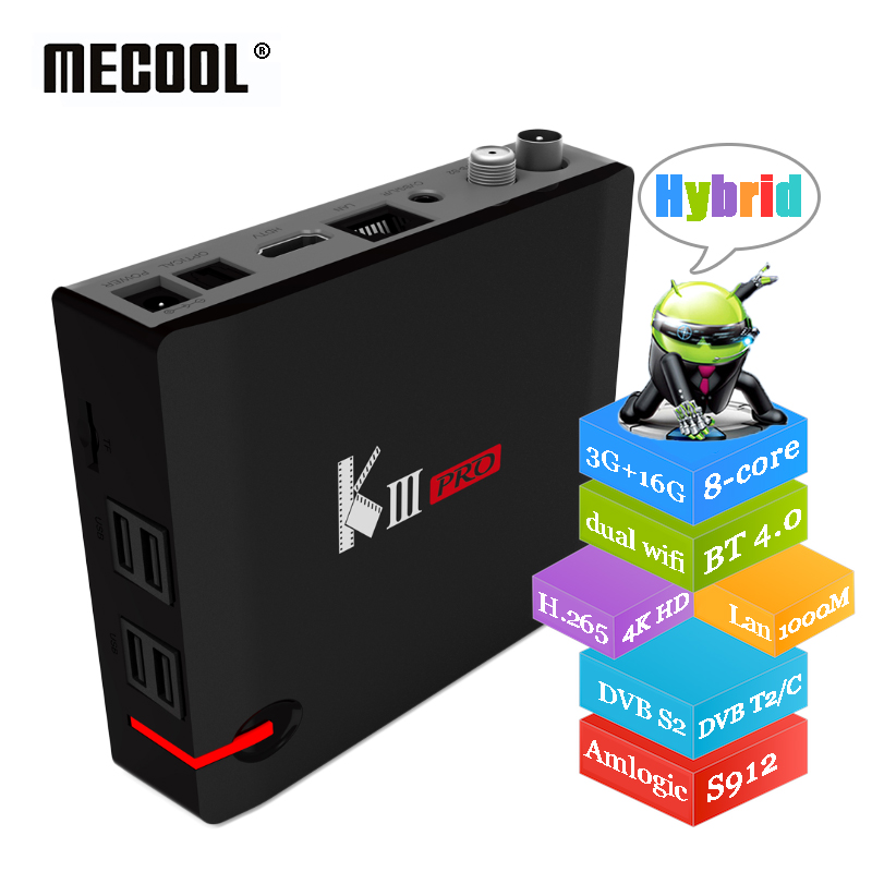 MECOOL KIII Pro 3G 16G Hybrid Smart TV Box Amlogic S912 8-core DVB S2 T2 C Combo Set Top Boxes Dual Wifi 4K HD Media Player антенна hite pro hybrid box