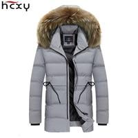 HCXY 2017 New Men Coats Fashion Outerwear Thick Warm Inside Winter Jacket Fur Collar Detachable Men