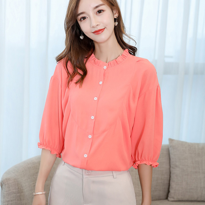 Women chiffon   blouse     shirt   New Arrivals 3/4 Sleeve solid color lady   shirt   loose office lady women tops and blusas