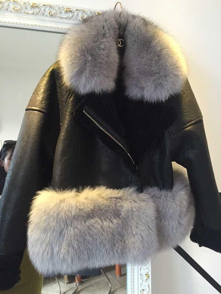 7 colores Otoño Invierno Caliente Piel auténtica coat mujeres con Fox Pieles de animales recorte genuino gamuza Pieles de animales chaquetas