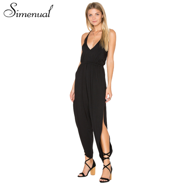 Simenual High split backless summer rompers womens jumpsuit sleeveless strap black sexy jumpsuits overalls v neck playsuits sale