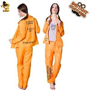 Image 1 - Halloween Prisoner Costumes Role Play Adult Womens Prisoner Suit Costumes