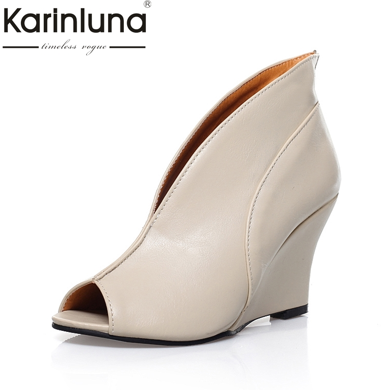 Karinluna 2018 Hot Sale Peep Toe Wedge high-heeled Slip On Women Shoes Woman Summer Boots Fashion Large Size 34-43 muffin wedge high heel stretch women extreme fetish casual knee peep toe platform summer black slip on creepers boots shoes