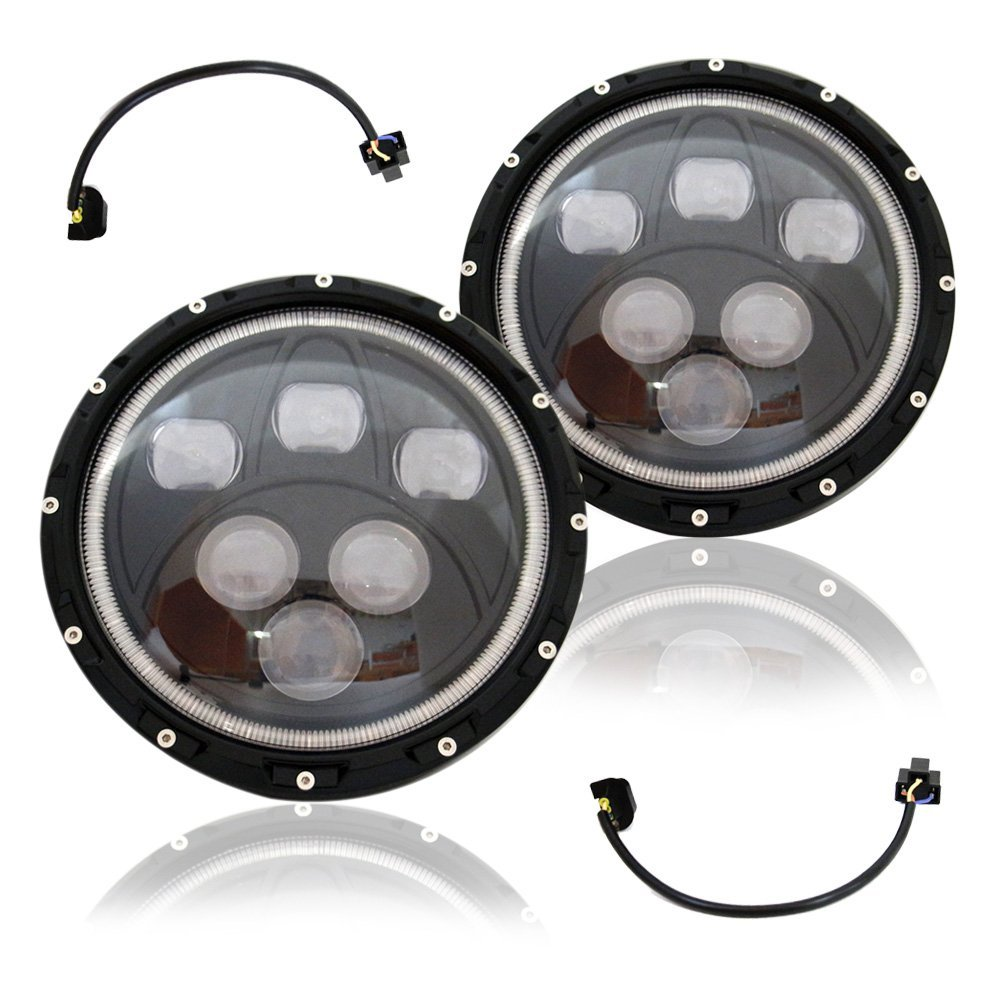 ФОТО 1pcs New headlight High Low Beam 7 Inch Round Led Head Light with Agnel Eyes external lamp with H4 plug multi color optional