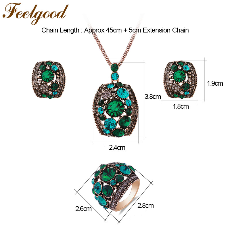 Feelgood Silver Color Vintage Jewellery Set White And Black Crystal Jewelry Sets With Necklace Stud Earrings Ring For Women Gift 3