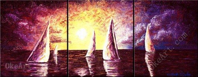 Sailing Into The Evening oil painting on canvas classic abstract art ...