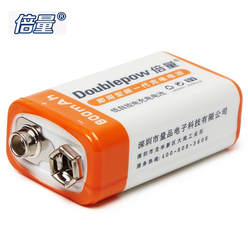 1 pz Doublepow 800 mAh 9 V Li-Ion Ricaricabile 9 Volt Al Litio LSD Bateria Recargable con 1200 Ciclo