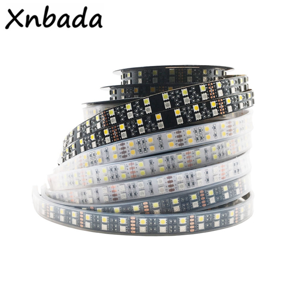 Double Row RGB LED Strip Waterproof 5050 120LEDs m 5M DC12V 24V RGB RGBW RGBWW White Warm White LED Light Flexible Neon Tape