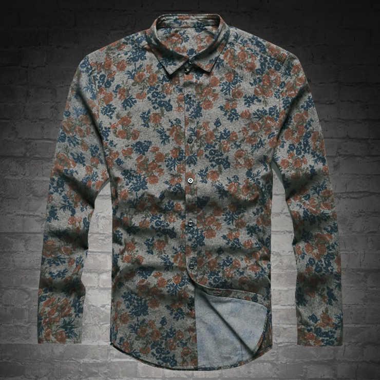 2017 男性シャツファッション新スタイルの高品質カジュアル綿プリントフラワーシャツ男性長袖シングルブレストスリムシャツ