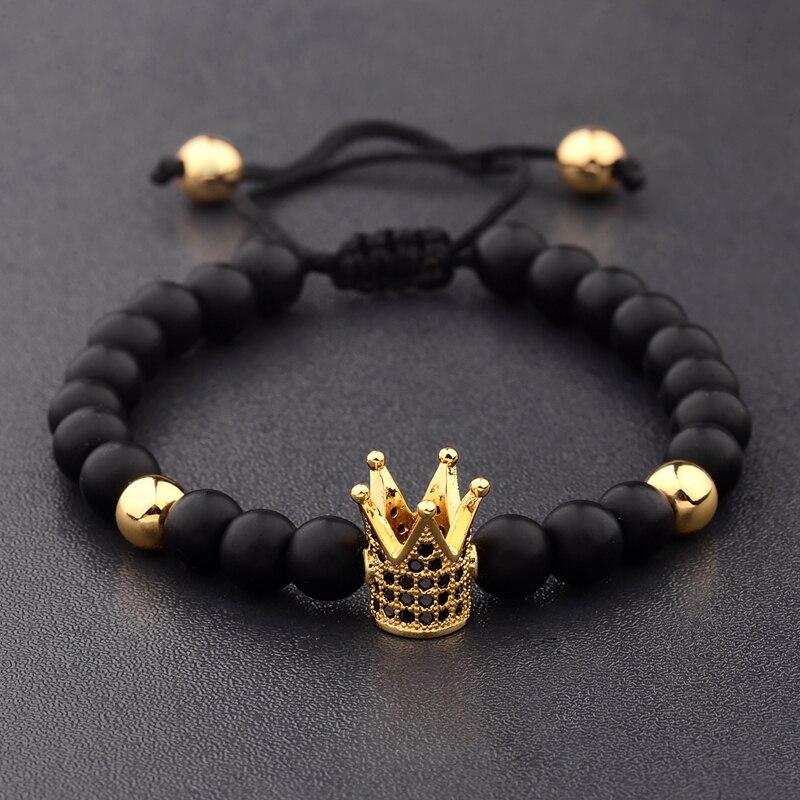 Amader Charm Men 6mm Natural Stone Bead Bracelets Crown Black Zircon Rope Braided Luxurious Bracelet Adjustable Pulseras ABL007