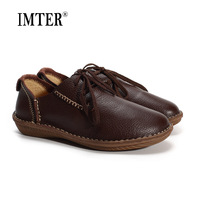 Genuine Leather Women Shoes Man Made Flat Shoes Black Brown Coffee Casual Lace Up Loafers Ladies