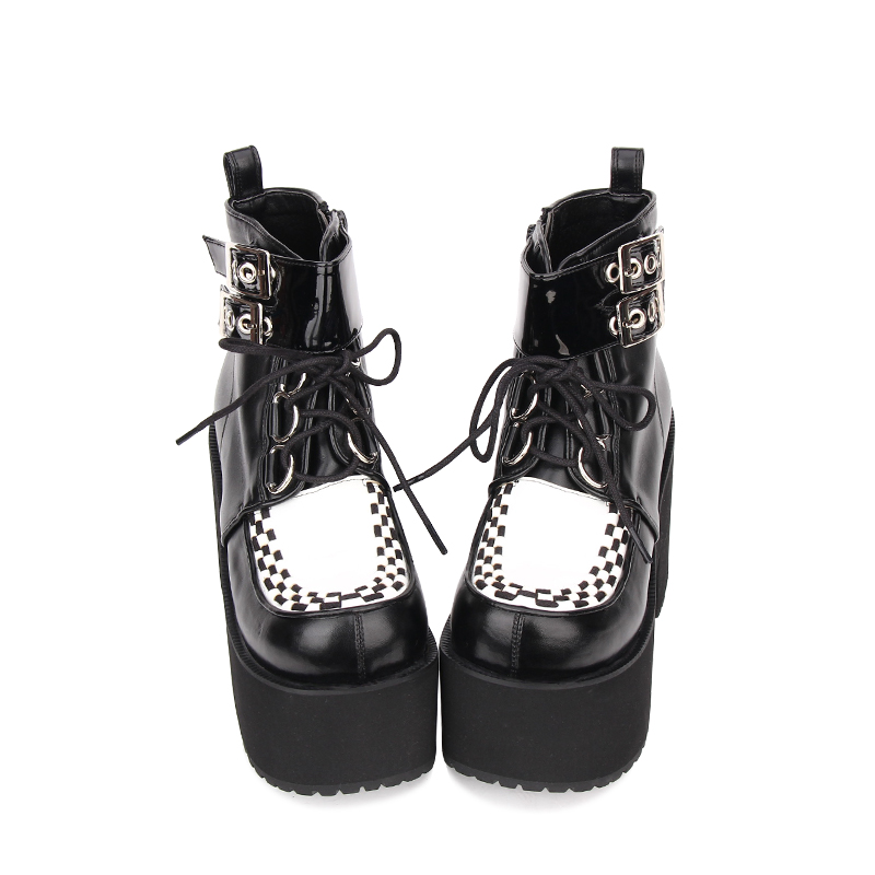 Angelic imprint Punk style Booties Ankle lolita Boots Black Leather Platform gothic shoes Size 35-46 9710 angelic imprint gothic lolita style platform shoes new fashion lolita sandals size 35 46 8276