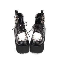 Angelic imprint Punk style Booties Ankle lolita Boots Black Leather Platform gothic shoes Size 35 46 9710