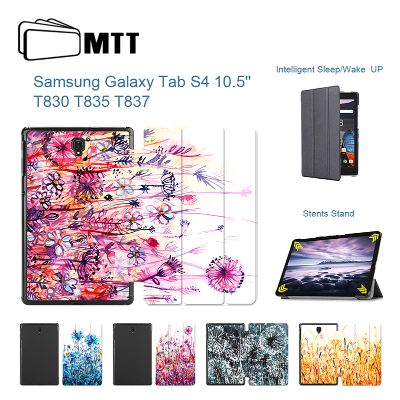 Clover Watercolor Painted High quality PU Leather Case for Samsung Galaxy Tab S4 10.5 Smart Cover For Samsung SM-T835 SM-T830 protective pu leather case w card slot for samsung galaxy s5 s4 black