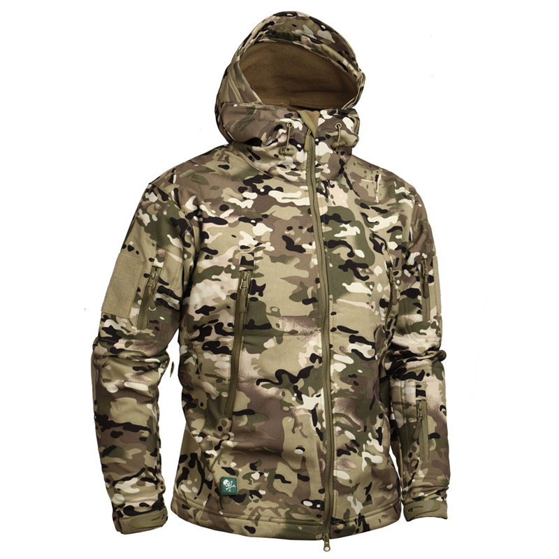 Brand Camouflage Military Men Hooded coat, Sharkskin Softshell US Army Tactical Multicamo, Woodland, A-TACS, AT-FG jacket