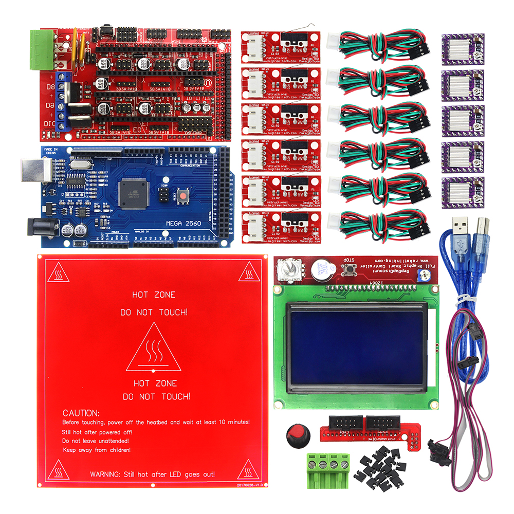 Reprap Ramps 1.4 Kit with Mega 2560 r3 + Heatbed MK2B + 12864 LCD Controller + DRV8825 +Mechanical Switch +Cables for 3D Printer купить