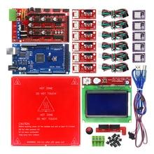 Reprap Rampas 1.4 con Kit de Mega 2560 r3 + MK2B Heatbed + 12864 Controlador LCD + DRV8825 + Interruptor Mecánico + Cables para 3D impresora