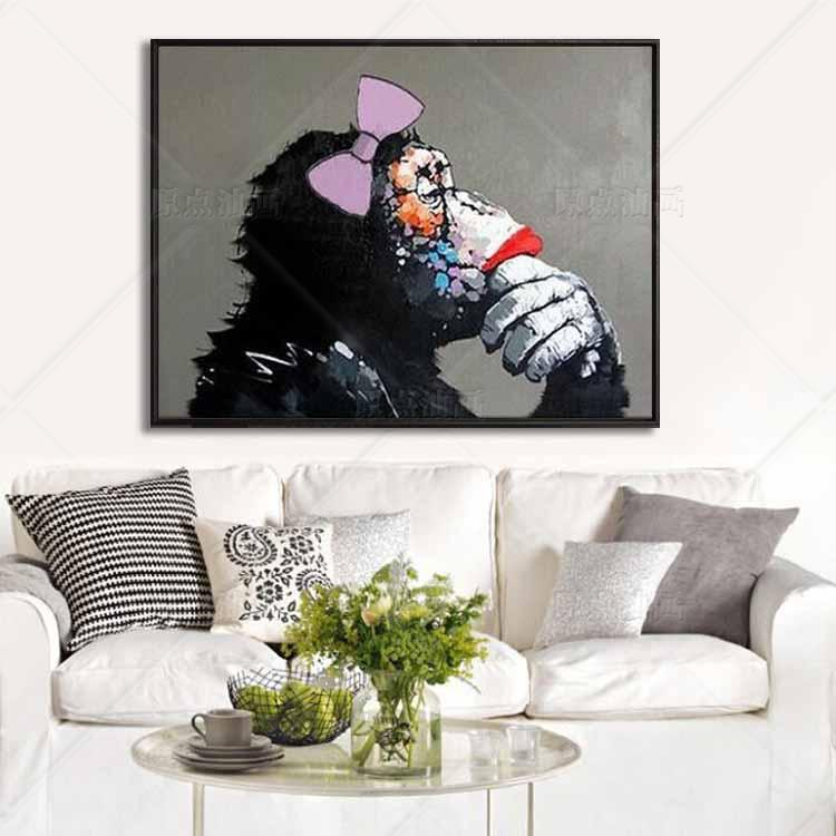Us 98 0 Animal King Thinking Monkey Wall Pictures Oil Painting Hand Painted Canvas Top Idea Decor Wall Art For Wall Painting No Framed In Painting