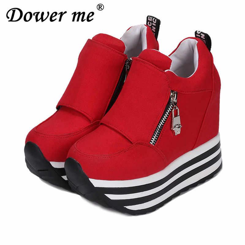 a3c4785e719 Black White Women Shoes Platform 2019 Hidden Wedge Boots Shoes For Women  High Heel Top Coat
