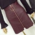 2016 Anillo de La Moda Coreana de la cremallera Una línea de Cintura Alta Mujeres Faldas Pu Falda de Cuero de Imitación Negro Vino Rojo Hembra Mini Faldas de La Manera