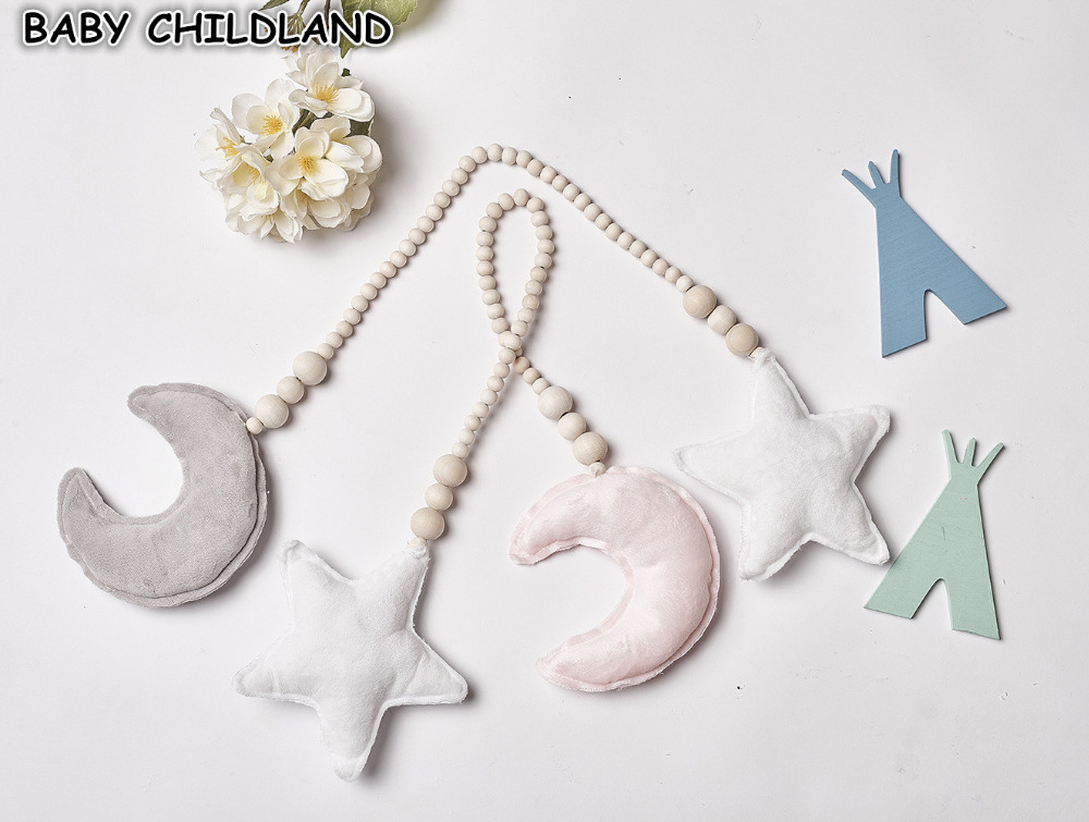 Baby Decoration Pillow Nordic Moon Stars Wooden Beads Strings Toys Kids Baby Room Decoration Crib Ornaments Photography Prop