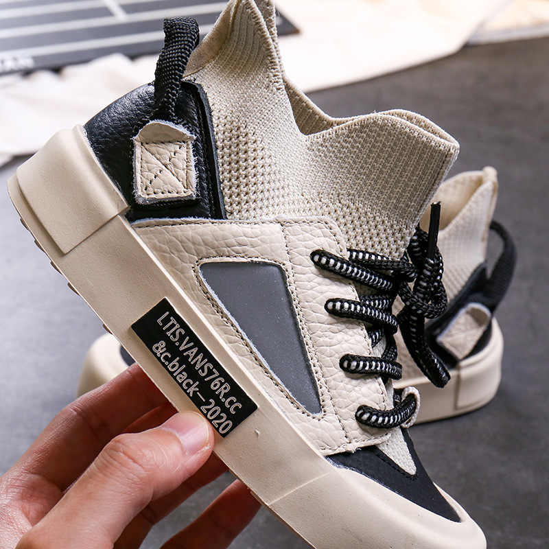 ฤดูใบไม้ร่วงเด็กสูงกีฬารองเท้าผ้าใบเด็กๆรองเท้าผ้าใบเด็กตาข่ายรองเท้าเด็กชายรองเท้าสีดำรองเท้าผ้าใบ Trainers